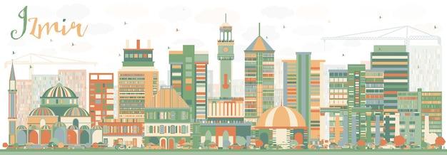Orizzonte astratto di izmir con edifici di colore. illustrazione di vettore. viaggi d'affari e concetto di turismo con architettura storica. immagine per presentazione banner cartellone e sito web.