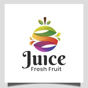 Logo astratto del succo con frutta fresca per dieta, cibo sano, vegetariano, logo nutrizionale naturale
