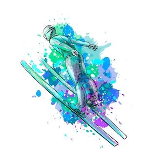 Sciatore di salto astratto da una spruzzata di acquerello, schizzo disegnato a mano. sport invernali. illustrazione di vernici
