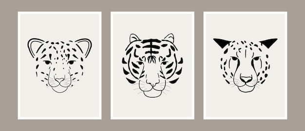 Collezione d'arte di stampa testa di leopardo, tigre e ghepardo animale della giungla astratta