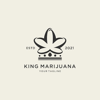 Modello di logo astratto della marijuana del re