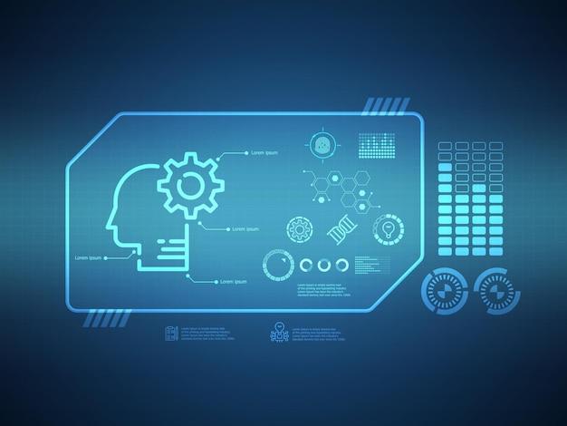 Illustrazione futuristica di vettore del fondo di tecnologia di fantascienza dell'interfaccia del display di hud di conoscenza astratta