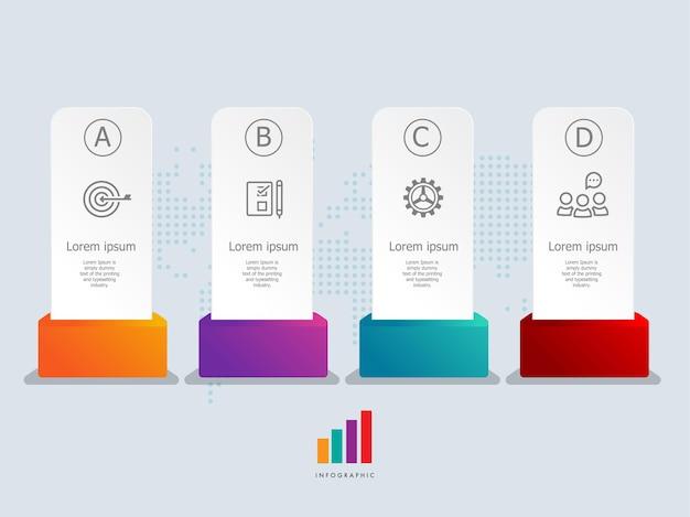 Modello astratto dell'elemento di presentazione di infographics dell'etichetta con le icone di affari