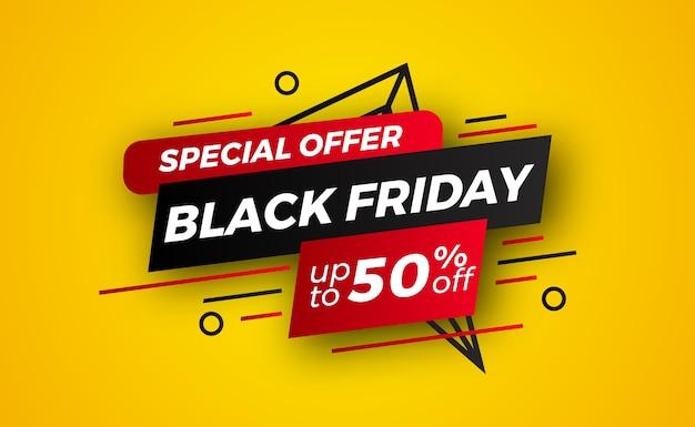 Etichetta adesiva astratta per banner di vendita offerta speciale venerdì nero per modello di acquisto al dettaglio