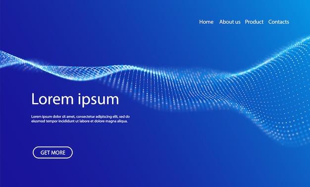 Sfondo astratto della pagina di destinazione con particelle blu visualizzazione del punto del modello