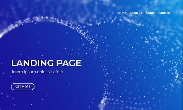 Sfondo astratto della pagina di destinazione con illustrazione vettoriale di tecnologia di particelle blu