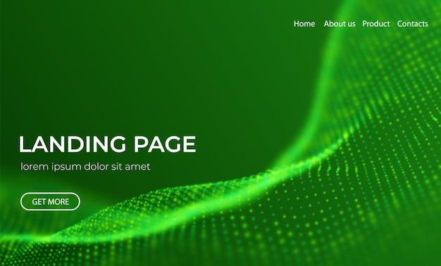 Sfondo astratto della pagina di destinazione con particelle verdi onda di flusso con paesaggio a punti