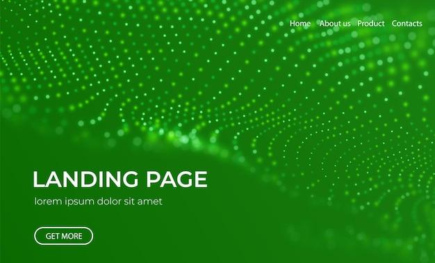 Sfondo astratto della pagina di destinazione con particelle verdi visualizzazione del punto del modello