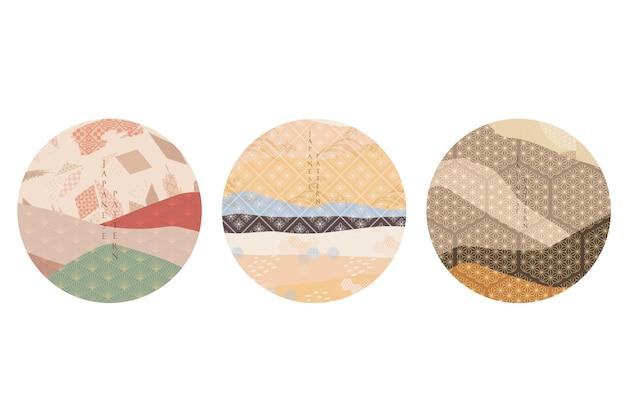 Fondo astratto del paesaggio con il vettore del reticolo geometrico. modello di foresta di montagna con elemento giapponese.