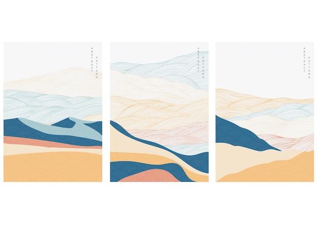 Fondo astratto del paesaggio con il vettore del modello di linea. modello di onda giapponese in stile orientale. bandiera della foresta di montagna.