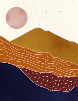 Paesaggio astratto di montagne con il sole in uno stile minimal alla moda. sfondo vettoriale in colori terracotta per copertine, poster, storie di social media. stampe d'arte boho.