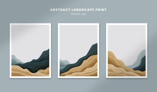 Poster di paesaggi astratti copertine di forme disegnate a mano con dettagli di montagna