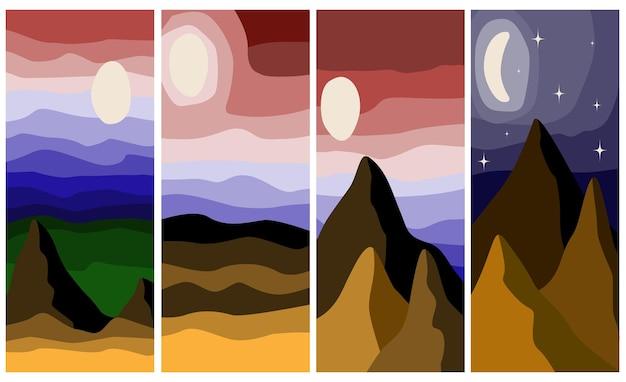 Paesaggio astratto set di sfondi astratti illustrazione vettoriale d'archivio con montagne astratte