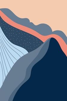 Stile astratto di struttura del paesaggio della carta del manifesto di design alla moda disegnata a mano del minimalismo