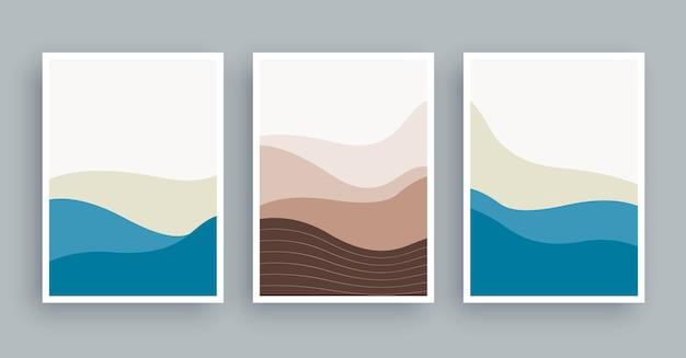 Pittura astratta di arte della parete delle montagne dei paesaggi. fondo disegnato a mano degli elementi di forma minimalista.