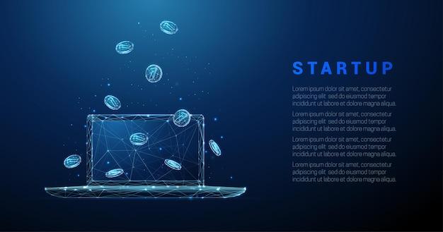Computer portatile astratto con monete che cadono illustrazione vettoriale wireframe di avvio di affari in stile basso poli