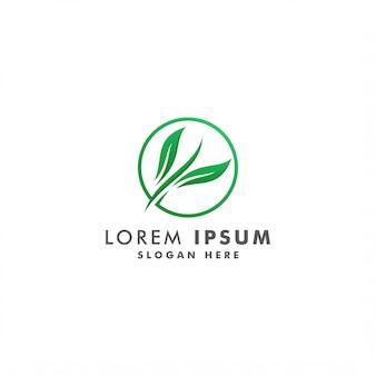 Modello astratto di logo di colore verde della foglia, illustrazione del logotype di progettazione dell'icona dell'ambiente