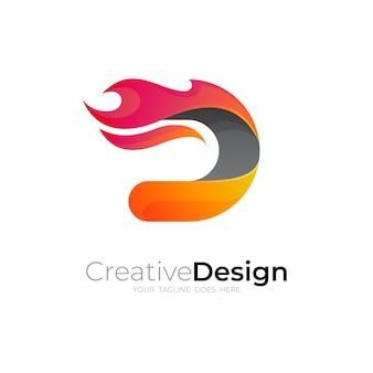 Logo astratto della lettera d e modello di progettazione del fuoco, colore rosso