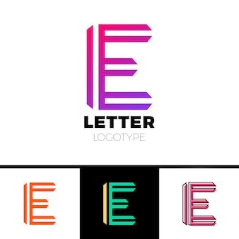 Modello di progettazione del logo astratto lettera e. simbolo di linea vettoriale icona premium elegante segno