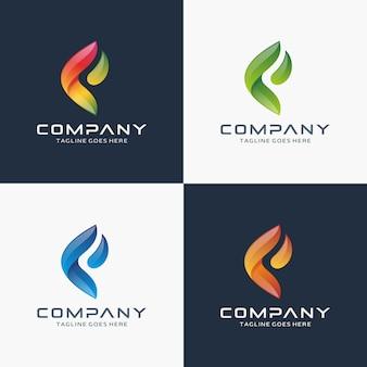 Modello di progettazione del logo astratto lettera f.