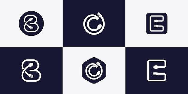 Logo astratto della lettera con il concetto di cucchiaio e forchetta vettore premium