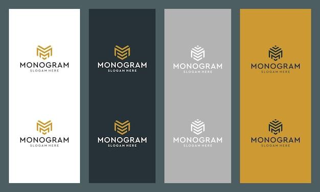 Collezione di loghi monogramma lettera m astratta.