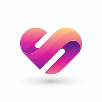 Logo astratto della lettera s love Vettore Premium