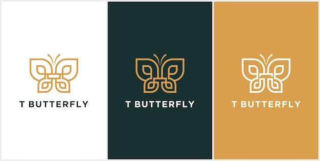 Logo astratto lettera t, farfalla oro, logo di bellezza