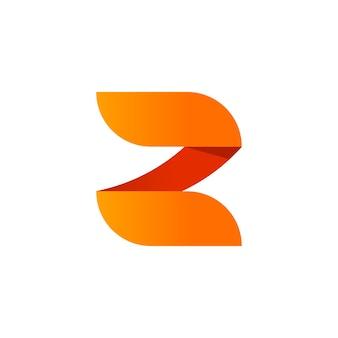 Disegno astratto del modello dell'elemento di vettore del logo della lettera z in stile sfumato arancione