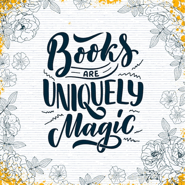 Lettering astratto su libri e lettura per poster design.