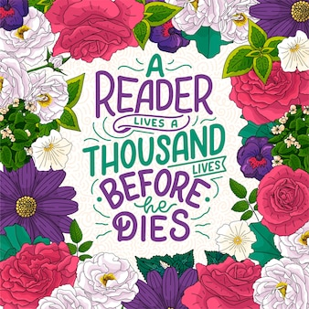 Lettering astratto su libri e lettura per poster design
