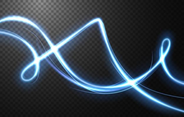 Effetto movimento astratto velocità della luce, traccia di luce blu.