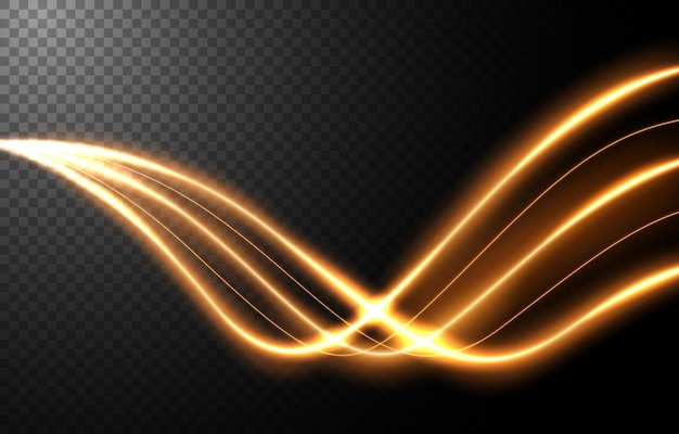 Effetto movimento astratto velocità della luce, scia di luce dorata.