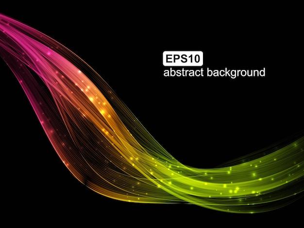 Fondo futuristico astratto dell'onda luminosa. flusso colorato moderno.