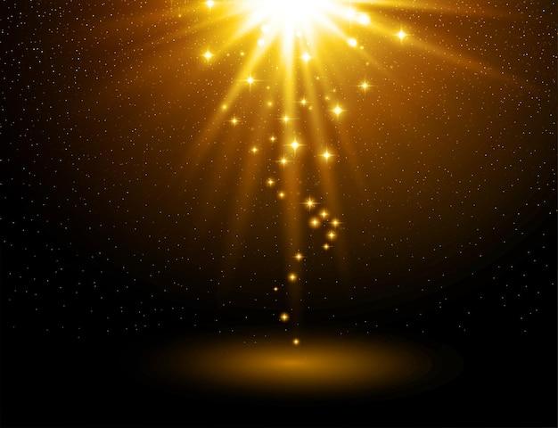 Luce astratta con raffica d'oro.