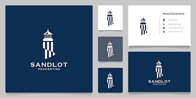 Faro astratto mercusuar beach logo design Vettore Premium