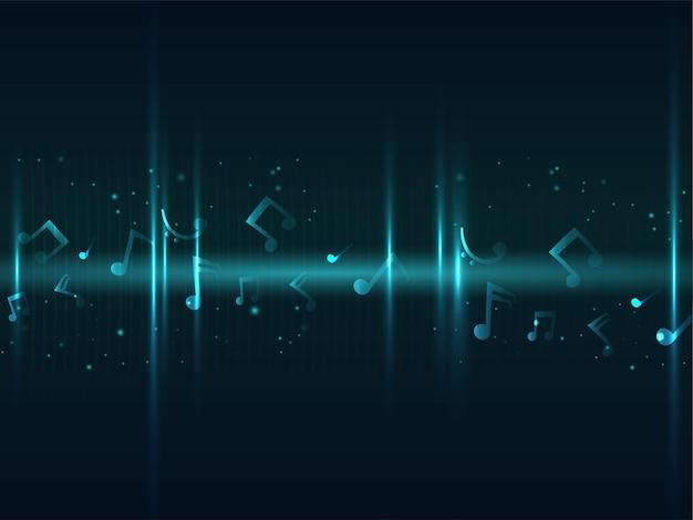 Sfondo astratto effetto luci decorato con note musicali.