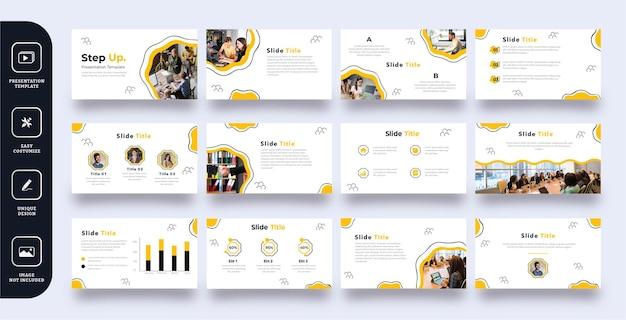 Modello di presentazione diapositiva di affari di arte astratta linea