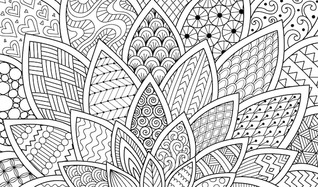 Linea arte astratta di fiore per fondo, illustrazione adulta del libro da colorare