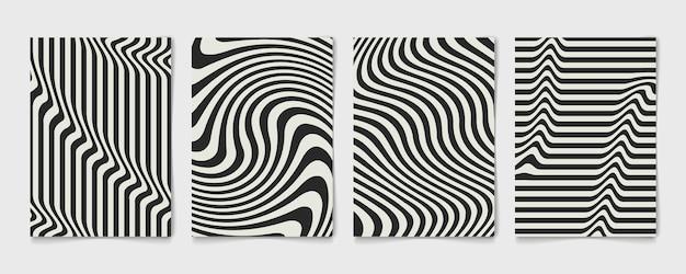 Linea astratta ondulata design nero e grigio del poster modello impostato. copertura annuale decorativa di design ondulato