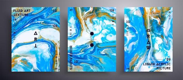 Copertura liquida astratta, collezione di texture arte fluida.