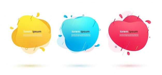 Striscioni astratti di forme liquide con linee geometriche e punti. elementi di colore dinamici per il design.