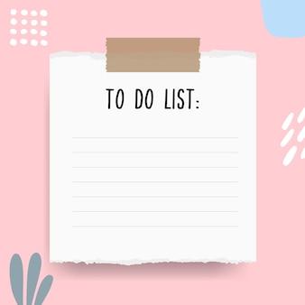 Modello di elenco delle cose da fare astratto con pezzi di carta strappata e linea di gesso. agenda settimanale vuota con note in colori pastello.