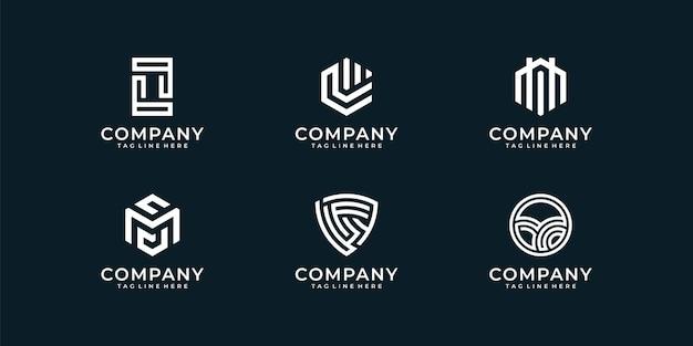 Insieme di raccolta di disegno astratto logo