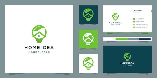 Logo astratto per lampadina di efficienza domestica con foglia sopra. logo e biglietto da visita.