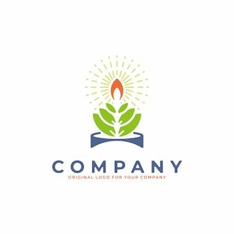 Logo astratto con il concetto di combinazione di fiori di loto e candela accesa