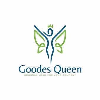 Logo astratto con concetto di donna alata e coronata