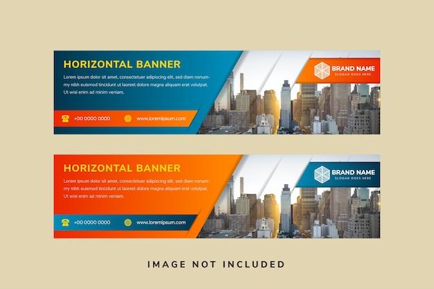 Modello di progettazione banner orizzontale lungo astratto con colore blu e arancione