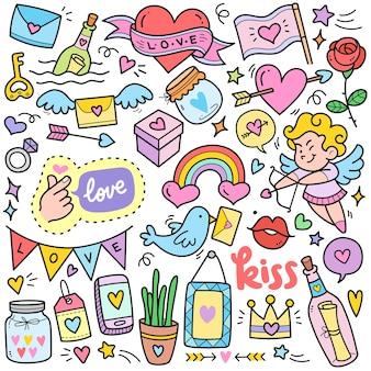 Concetti d'amore astratti elementi grafici vettoriali colorati e illustrazioni scarabocchiate