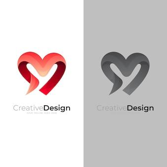 Disegno astratto del logo di amore, logo del cuore con colore rosso